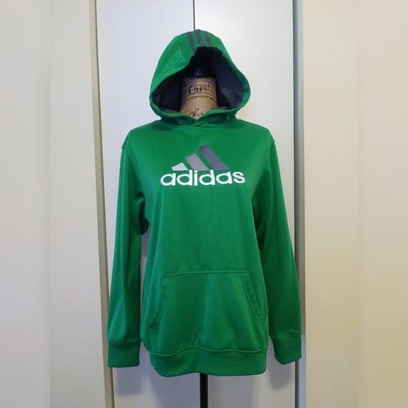adidas Tops - Adidas Hoodie Sweatshirt Green & Gray